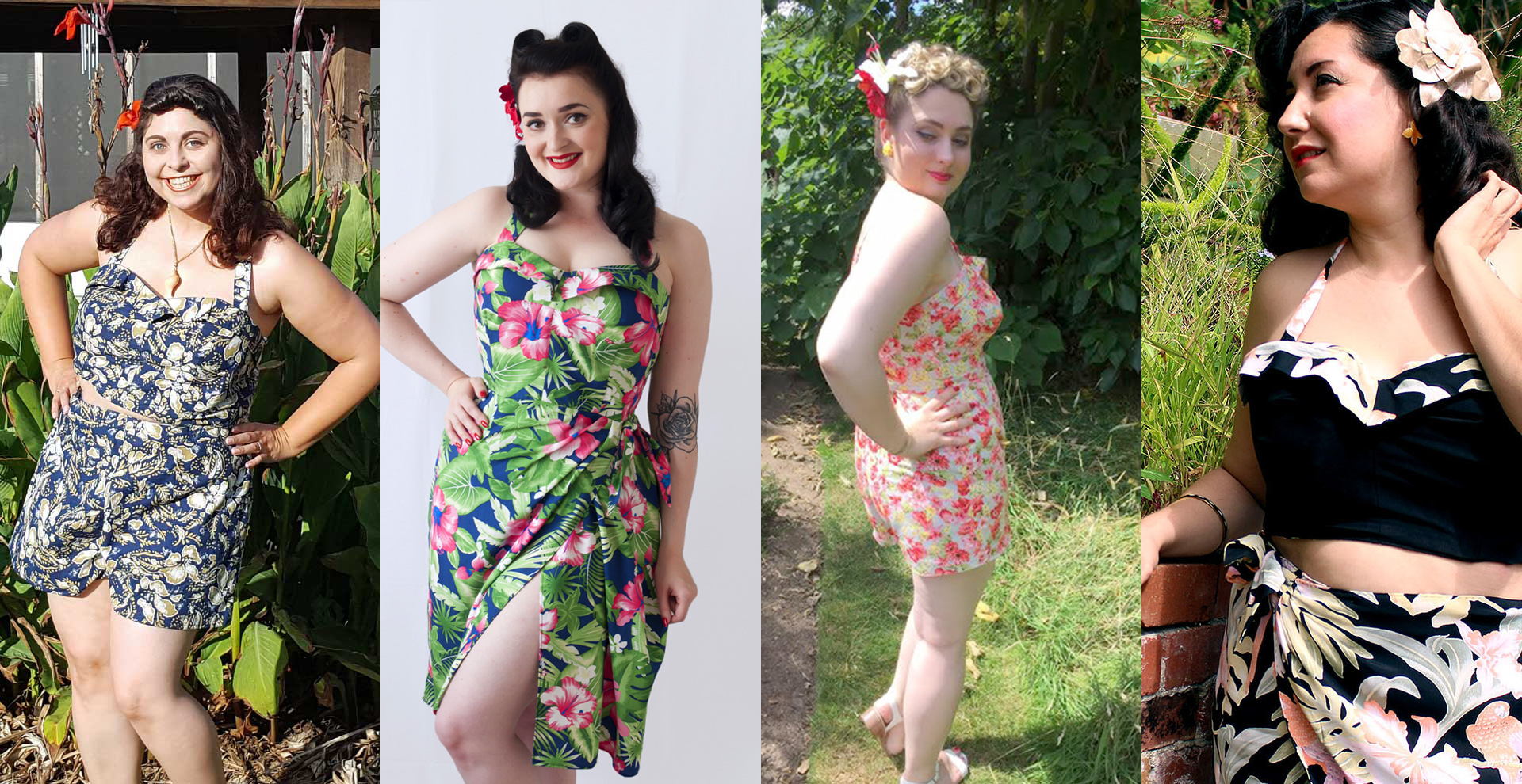 Akram from Akram's Ideas, Abi from The Crafty Pinup, Christina from Gussets and Godets, and Bianca from Vintage on Tap in Butterick B6354